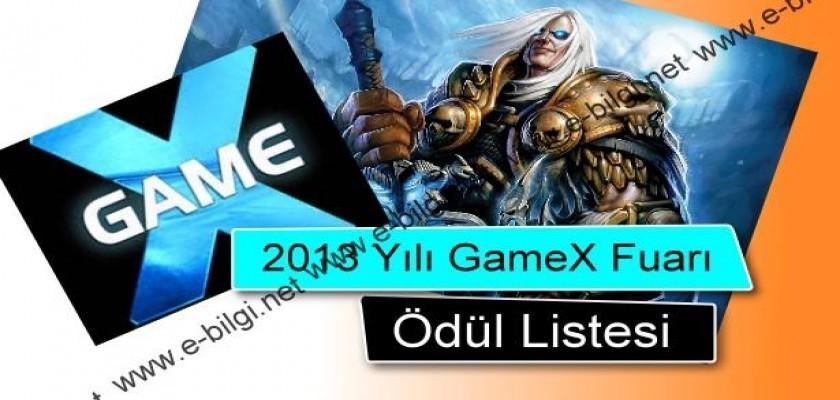 2013 Yılı GameX Fuarı Ödül Listesi
