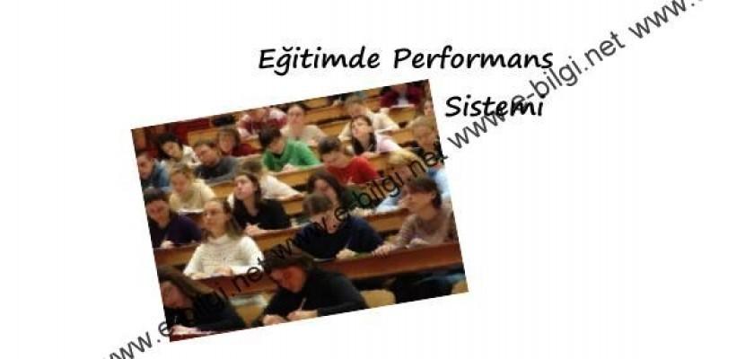 Eğitimde Performans Sistemi Nedir